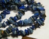 36 inch strand Lapis Lazuli and Denim Lapis small chip beads