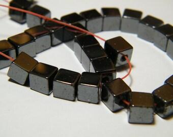 16 inch strand Hematite cube beads, 6mmx6mm
