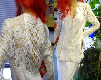 80s Vintage suit White Chantilly Lace dress size small wedding party prom jessica McClintock with tags