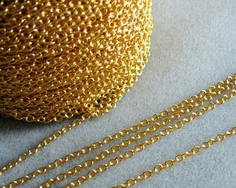 Gold Plated Cross Chain 4mm x 3mm Nickel Free 359-GP