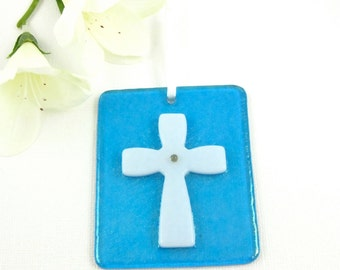 Turquoise Glass Cross Ornament