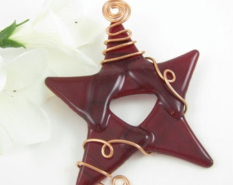 Red Glass Star Ornament Fused Glass Christmas Tree Ornament