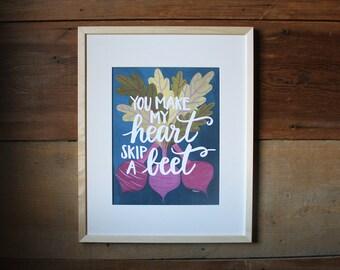 Heart Skip a Beet Art Print | 11x14