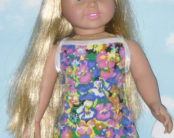 18 inch Doll Tank Dress Handmade Multi Colored Floral