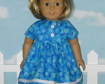 18 inch Doll Dress Handmade Blue Short Sleeve Dress
