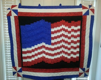 Waving Flag Wall Hanging Art Quilt One of a Kind American 4th of July Cotton USA Decoration