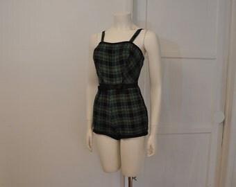 1950s swimsuit / Plaid Perfection Vintage 50's Swimsuit