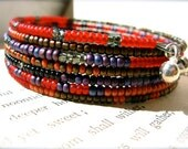 Ruby Red Bronze And Purple Beaded Memory Wire Bracelet - Night In Morocco