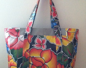 Beth's Black Tejuana Oilcoth Multi Market  Tote bag
