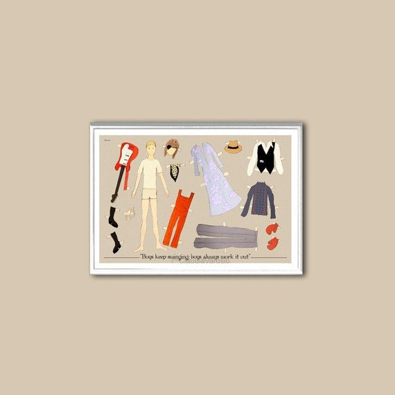 The David Bowie paper doll 6x4 inches small print