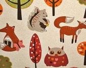 Scandinavian fabric mid century fabric retro fabric owl fabric fox fabric woodland fabric  home decorating fabric FREE SHIPPING 1 yard