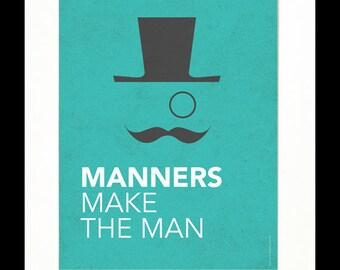 """Children's Art Print Poster, Nursery Art, Children's Room, Proverbs, Idioms, """"Manners Make the Man"""", Mustache Art, 8x10 Print"""