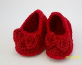 Ruby Red Slippers Crochet Baby Booties High Heeled Shoes Baby Booties