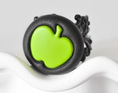 Green Apple Ring Granny Smith Fruit Jewelry for the Foodie in Your Life in Black Polymer Clay