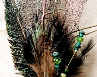 Copper Blue Sea Fan Coral Reversible Mermaid Hair Stick