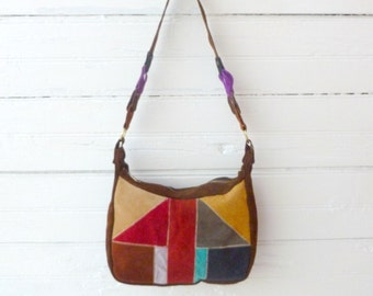 Vintage 60s 70s Colorful Patchwork Leather Purse