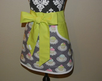 Multi Colored Cupcakes on Gray with Lime Green Pockets and Ties Adult Half Apron