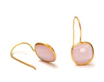 Pink Quartz Square Earrings