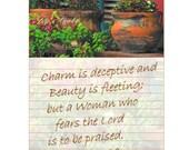 CHARM & BEAUTY - Proverbs 31:30 - 5 X 7 Photo Instant Art Digital Download Jpg Clay Flower Pot Window Ledge Vine Note Paper Red Green Orange