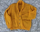 Sunflower Yellow Cardigan, Traditional Cardigan, Long Sleeved, Handmade, Shawl Collar Cardigan, Golden Yellow, Large, Machine Washable