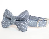 Dog Bow Tie Collar - Swiss Dot Chambray