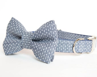 Dog Bow Tie Collar - Swiss Dot Chambray