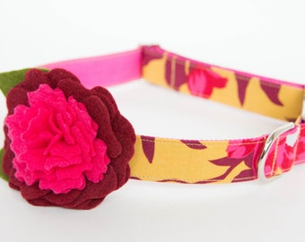 Flower Dog Collar - Golden Fall Floral