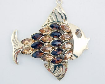 Gold-tone Fish Pendant Dark and Light Topaz Acrylic Rhinestones