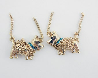 Pair of Scottie Dog Charms with Chain and Blue Rhinestone Collar Double Link