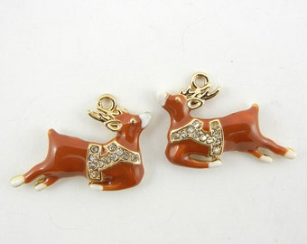 Pair of Brown Epoxy Gold-tone Reindeer Charms