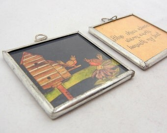 2 Large Message Pendant or Ornament in Metal Frame Under Glass