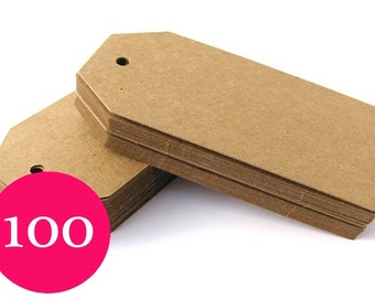 100 Kraft Tags - Large Luggage Tags - Blank Gift Tags - Parcel Tags - Party Favor Tags - Wedding Tags - Thank You Tags - Christmas Gift Tags