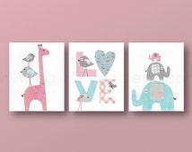 baby girl nursery decor kids art giraffe nursery elephant nursery Birds Love pink gray blue nursery art Set of three prints