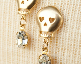 Gold Skull Earrings with Crystal Swarovski Rhinestones
