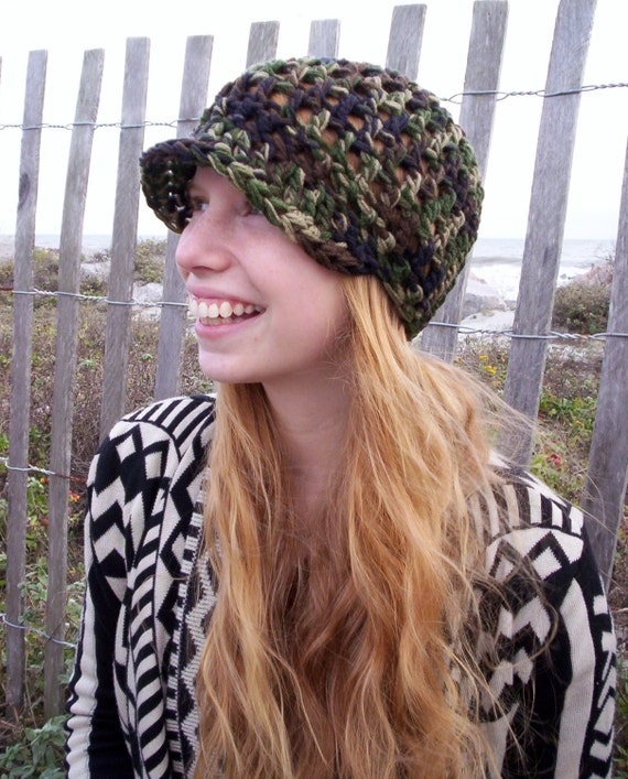 Free Crochet Pattern For Beanie With Bill : DOUBLE CAMO HAT Crochet Cap with Bill HaNDMaDE by GoodVibeHats