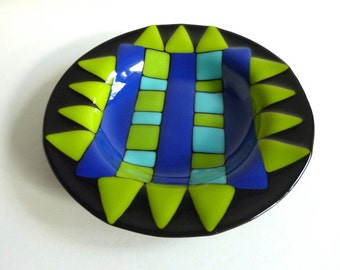 Black Fused Glass DIsh or Bowl with Blue and Green Decor by BPRDesigns