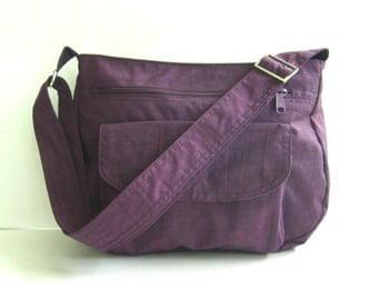 Sale - Water Resistant Nylon Messenger Bag - Handbag, Shoulder bag, Diaper bag, Tote, Travel bag, Women - PATTY