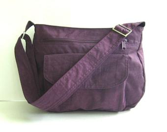 Sale - Water Resistant Nylon Messenger Bag - Handbag, Shoulder bag, Diaper bag, Tote, Travel bag, Women - PATTY