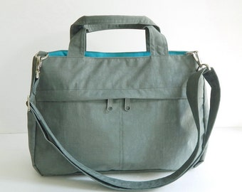 Sale - Water-Resistant Bag in Grey- messenger bag, tote, crossbody bag, purse, shoulder bag, everyday bag, handbag - ANNIE