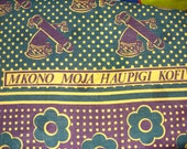 African piece of fabric Mkono Moja Haupici Kofi cotton green and earthcolours.