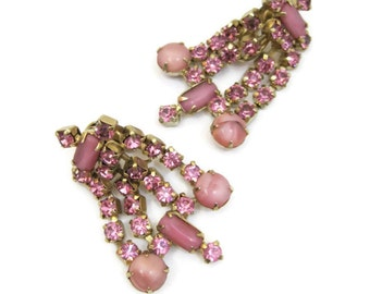 50s Rhinestone Earrings Vintage Kramer Pink Gold Chandelier Dangle