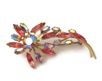 50s Brooch Vintage Rhinestone Pink and Aurora Gold Flower Pin