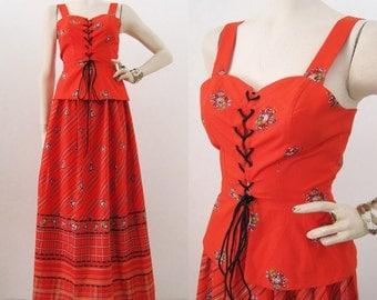 Vintage 70s Sun Dress Prairie Hippie Festival Red Cotton Peplum Corset Top & Maxi Skirt S M