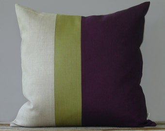 Linden Green and Purple Color Block Pillow (20x20) Modern Home Decor by JillianReneDecor - Plum Decorative Pillow