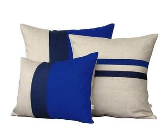 Cobalt Blue Pillow Set - Color Block and Striped Pillow Set by JillianReneDecor (Set of 3) - Dazzling Blue - Colorblock Pillow Trio - Monaco