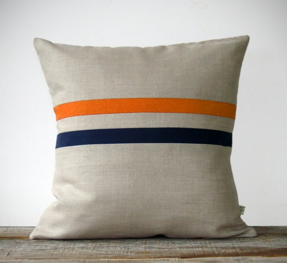 Orange And Navy Striped Pillow 16x16 Modern Home Decor By