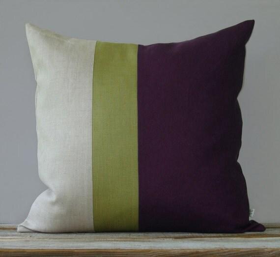 Linden Green And Purple Color Block Pillow 20x20 Modern Home Decor By Jillianrenedecor