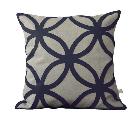Navy Blue DECORATIVE PILLOW COVER - Geometric Felt Design by JillianReneDecor Spring Home Decor Navy and Neutral Indigo