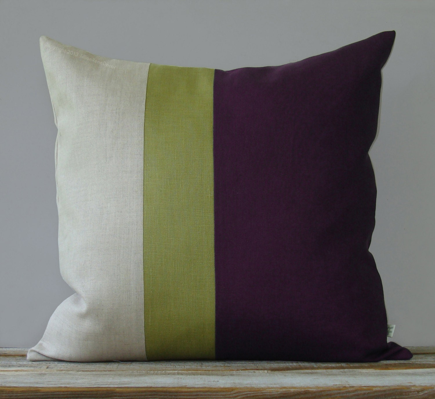 Linden Green And Purple Color Block Pillow 20x20 Modern Home