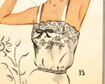 """40's Vintage Sewing Pattern CAMISOLES Size 14 Bust 32"""" 1940s Lace Eyelet embroidery transfer McCalls"""